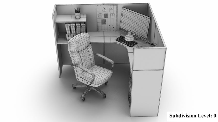 Workstation per cubicoli royalty-free 3d model - Preview no. 19