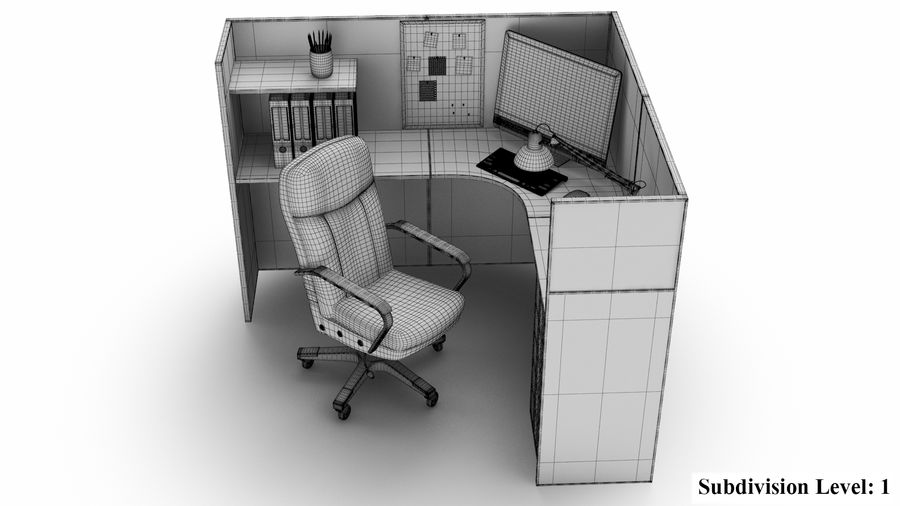 Workstation per cubicoli royalty-free 3d model - Preview no. 20