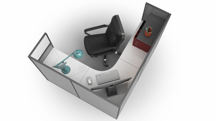 Workstation per cubicoli royalty-free 3d model - Preview no. 13