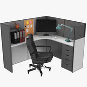 Cubicle Office Workstation 3d model