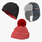 Kolekcja czapek zimowych 3d model