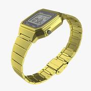 Золотые электронные часы 3d model