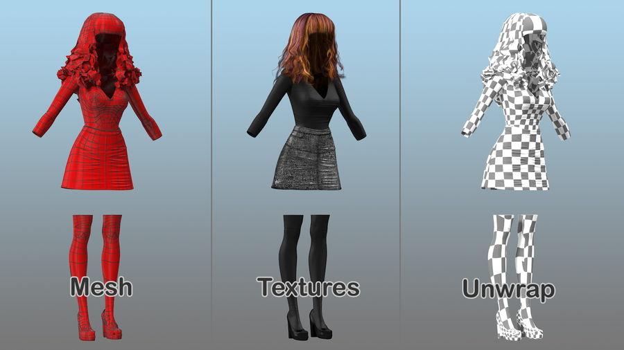 Junges Mädchen Jugendkleidung royalty-free 3d model - Preview no. 4