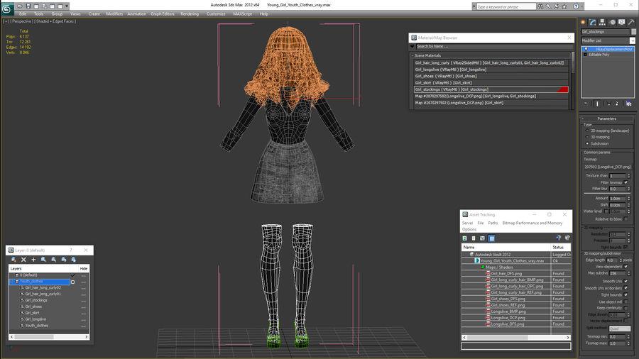 Junges Mädchen Jugendkleidung royalty-free 3d model - Preview no. 17