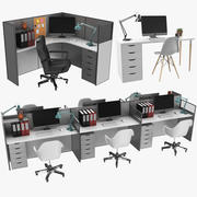 Office Workstations-Auflistung 3d model