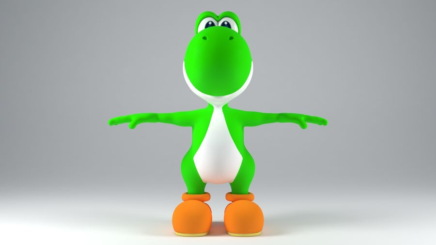 Postać Yoshi z Super Mario royalty-free 3d model - Preview no. 4