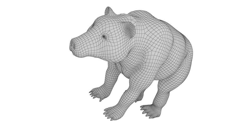 Niedźwiedź grizzly z futrem royalty-free 3d model - Preview no. 10