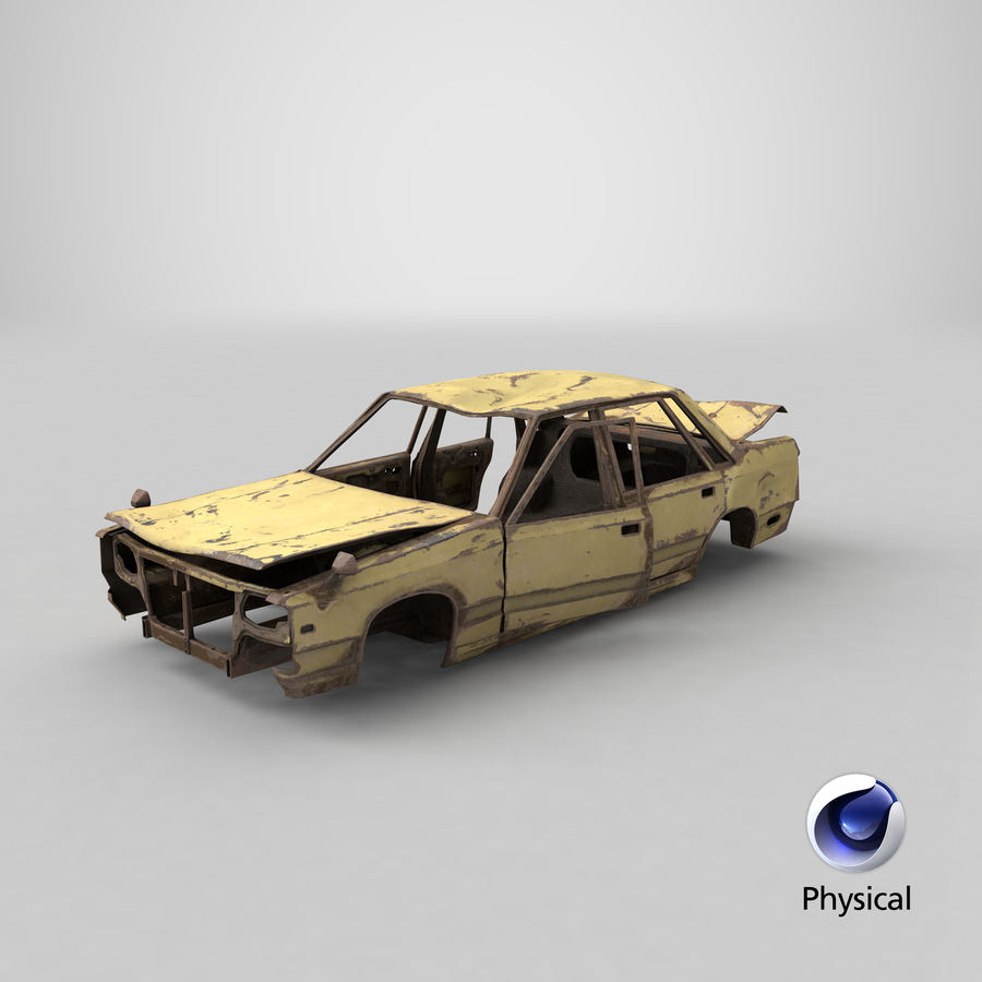 Abandoned Rusty Car PBR royalty-free 3d model - Preview no. 18