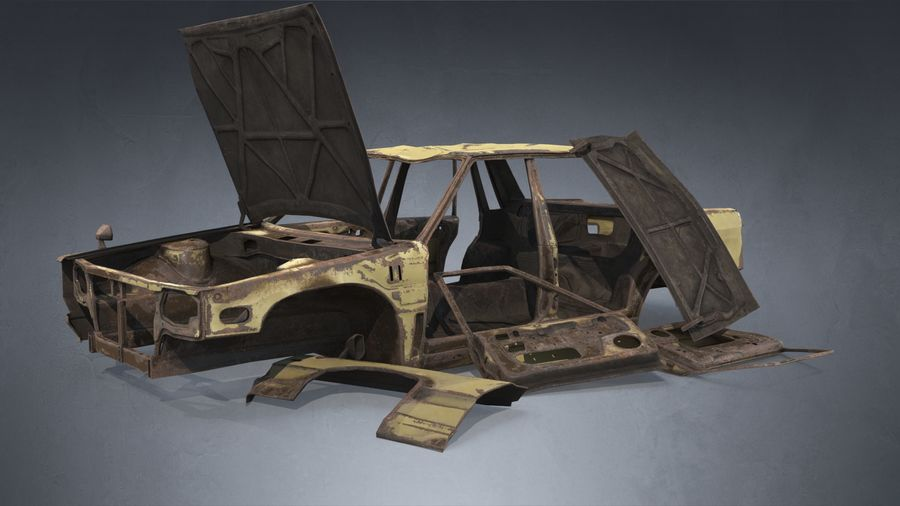 Abandoned Rusty Car PBR royalty-free 3d model - Preview no. 7