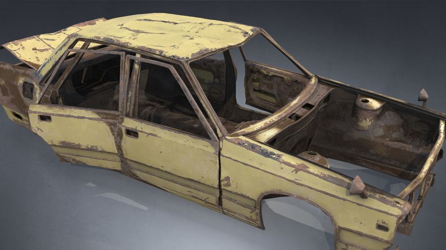 Abandoned Rusty Car PBR royalty-free 3d model - Preview no. 6