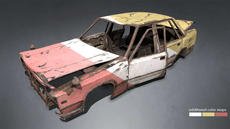 Abandoned Rusty Car PBR royalty-free 3d model - Preview no. 3