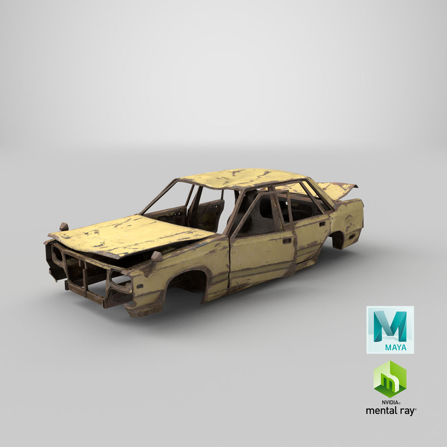 Abandoned Rusty Car PBR royalty-free 3d model - Preview no. 26