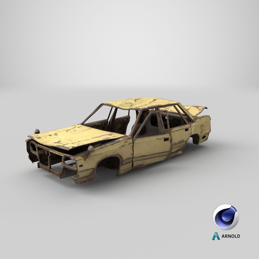 Abandoned Rusty Car PBR royalty-free 3d model - Preview no. 19