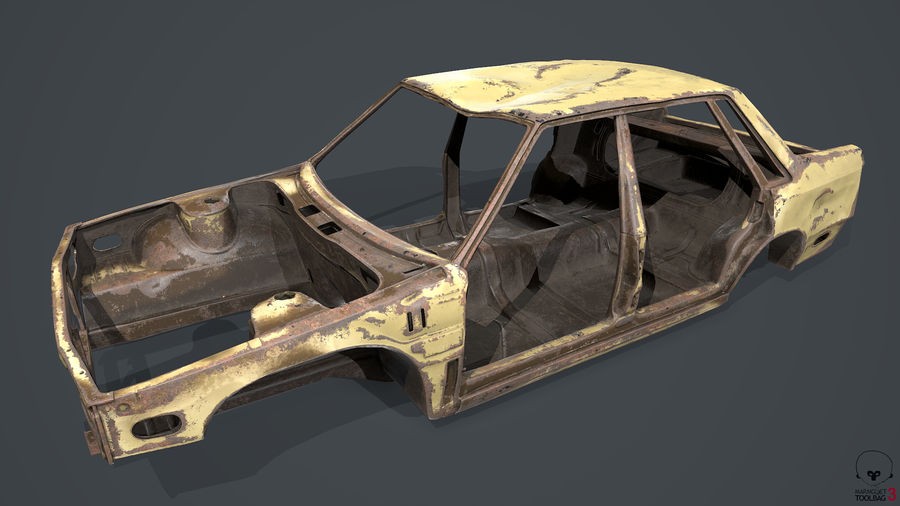 Abandoned Rusty Car PBR royalty-free 3d model - Preview no. 12