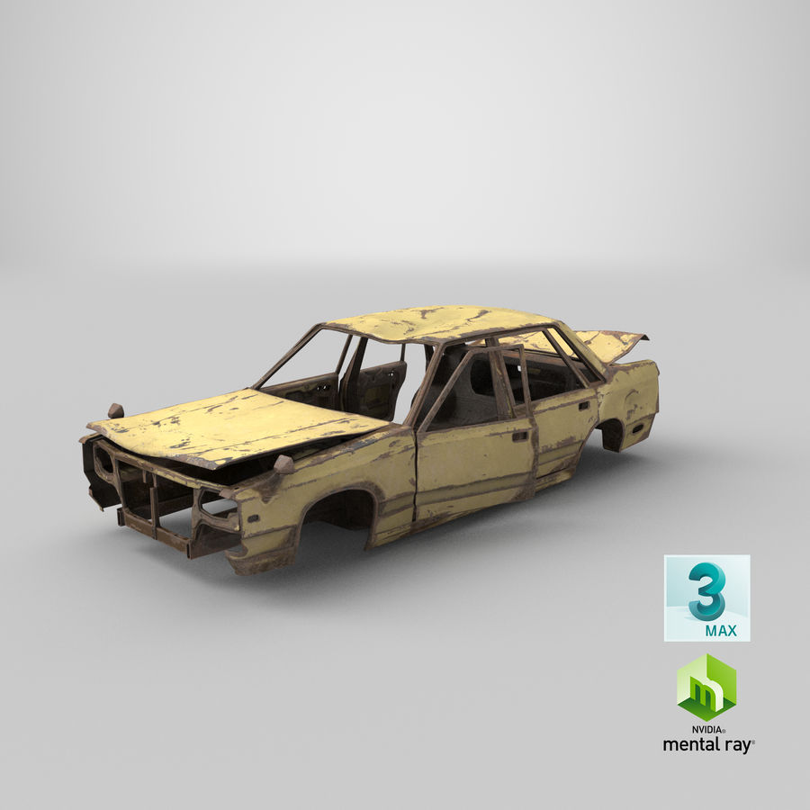 Abandoned Rusty Car PBR royalty-free 3d model - Preview no. 23