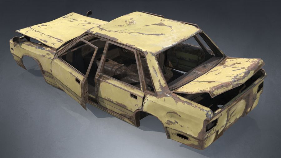 Abandoned Rusty Car PBR royalty-free 3d model - Preview no. 5