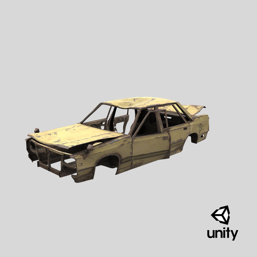 Abandoned Rusty Car PBR royalty-free 3d model - Preview no. 20