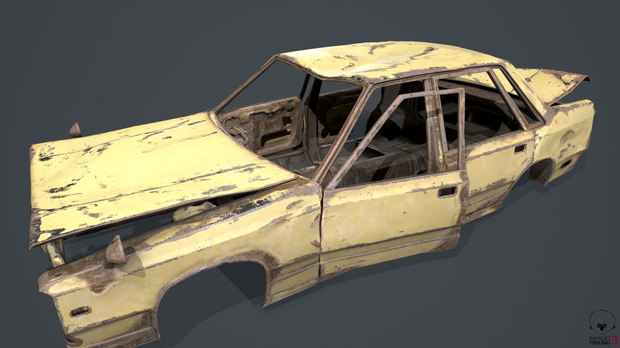 Abandoned Rusty Car PBR royalty-free 3d model - Preview no. 11
