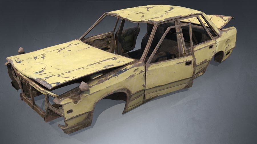 Abandoned Rusty Car PBR royalty-free 3d model - Preview no. 2
