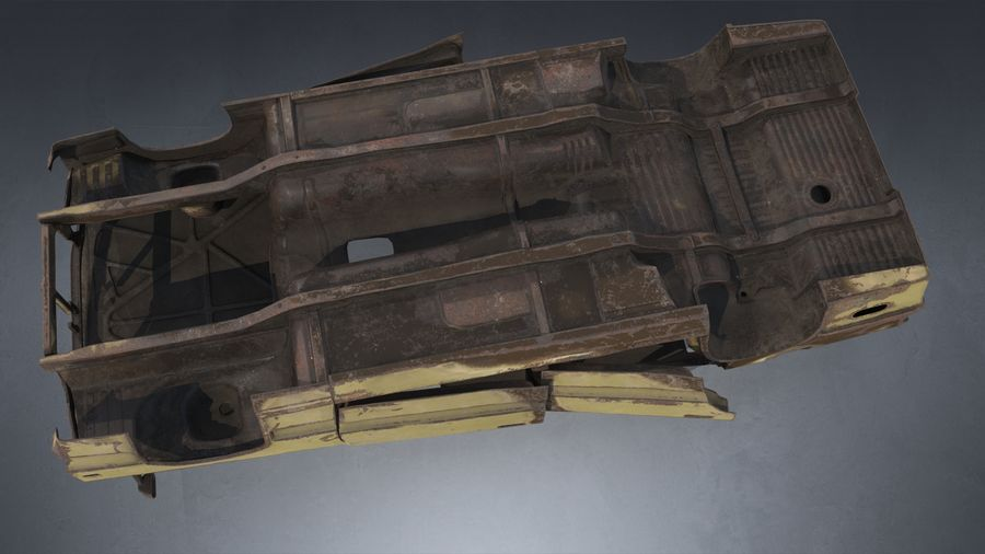 Abandoned Rusty Car PBR royalty-free 3d model - Preview no. 9