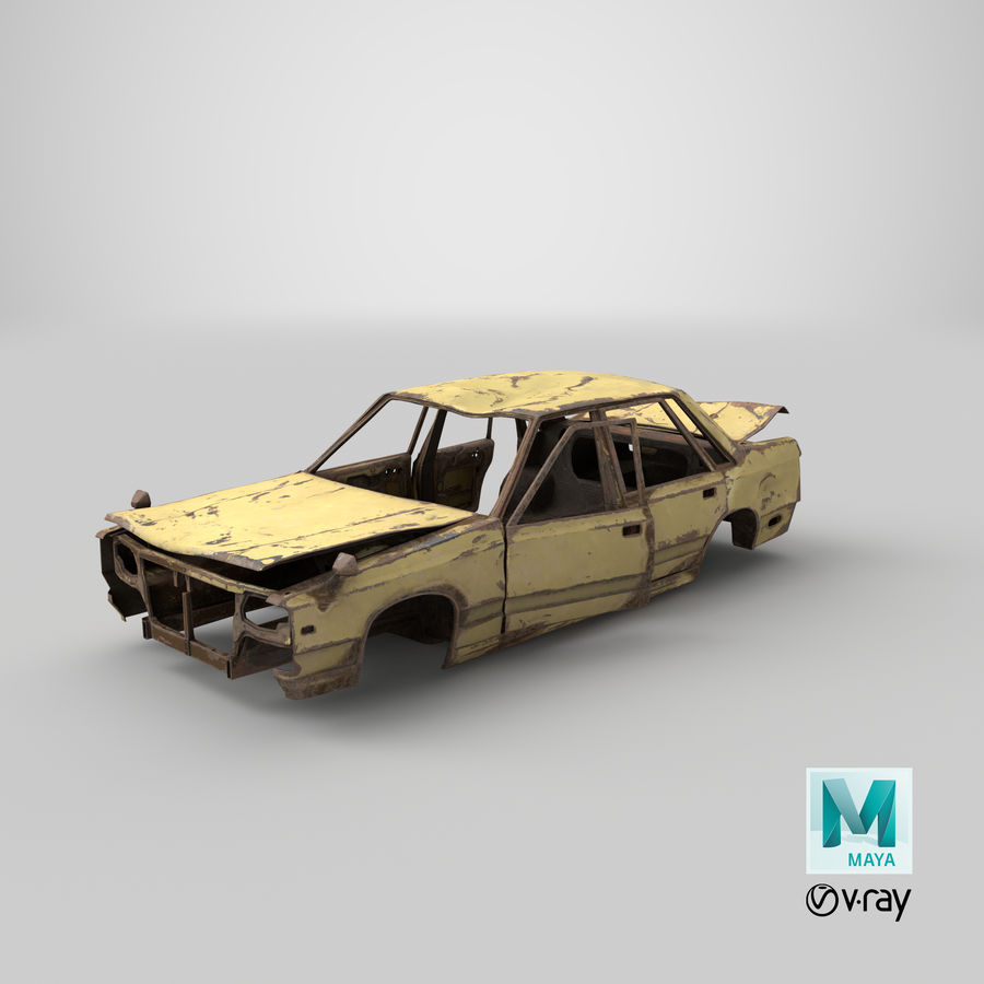 Abandoned Rusty Car PBR royalty-free 3d model - Preview no. 27