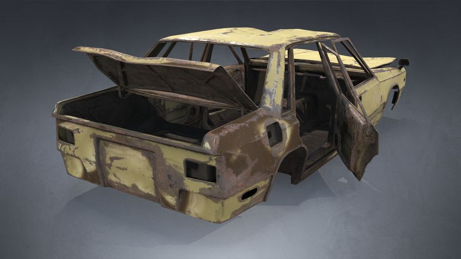 Abandoned Rusty Car PBR royalty-free 3d model - Preview no. 8