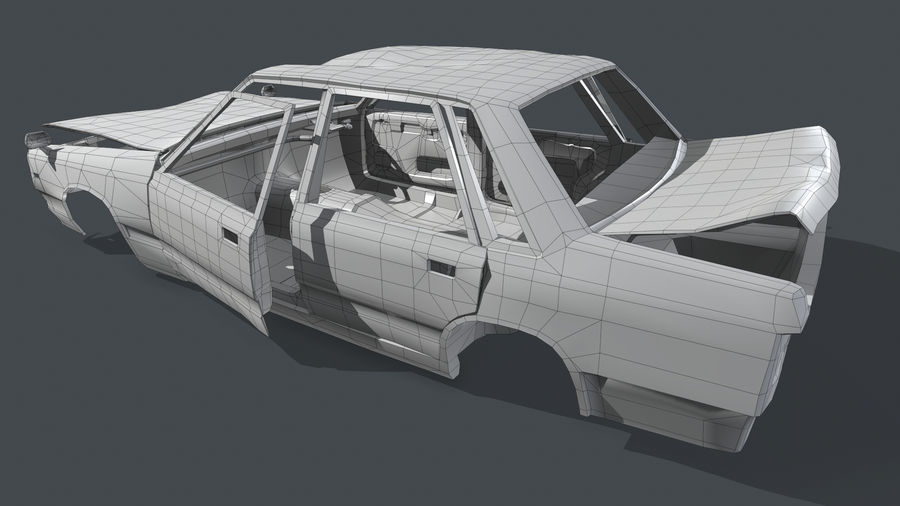 Abandoned Rusty Car PBR royalty-free 3d model - Preview no. 15