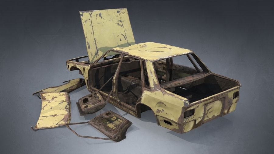 Abandoned Rusty Car PBR royalty-free 3d model - Preview no. 4