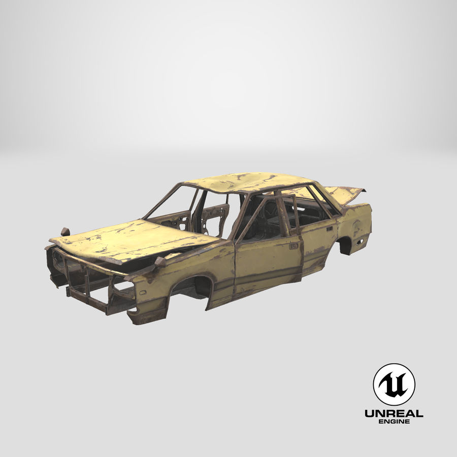 Abandoned Rusty Car PBR royalty-free 3d model - Preview no. 21