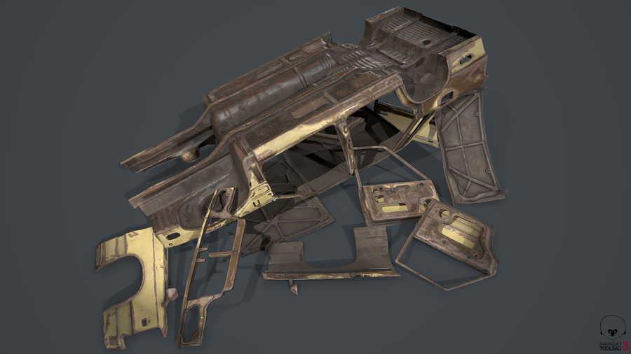Abandoned Rusty Car PBR royalty-free 3d model - Preview no. 10