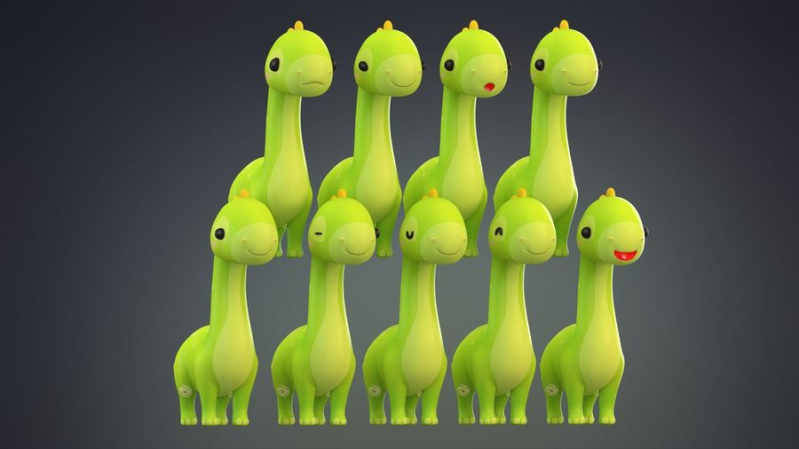 Cartoon Dinosaurier Brachiosaurus royalty-free 3d model - Preview no. 26