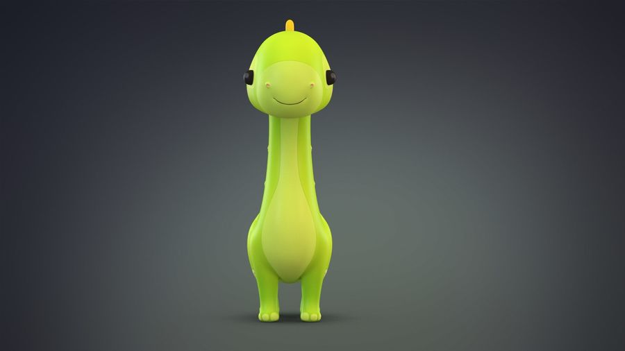 Cartoon Dinosaurier Brachiosaurus royalty-free 3d model - Preview no. 3