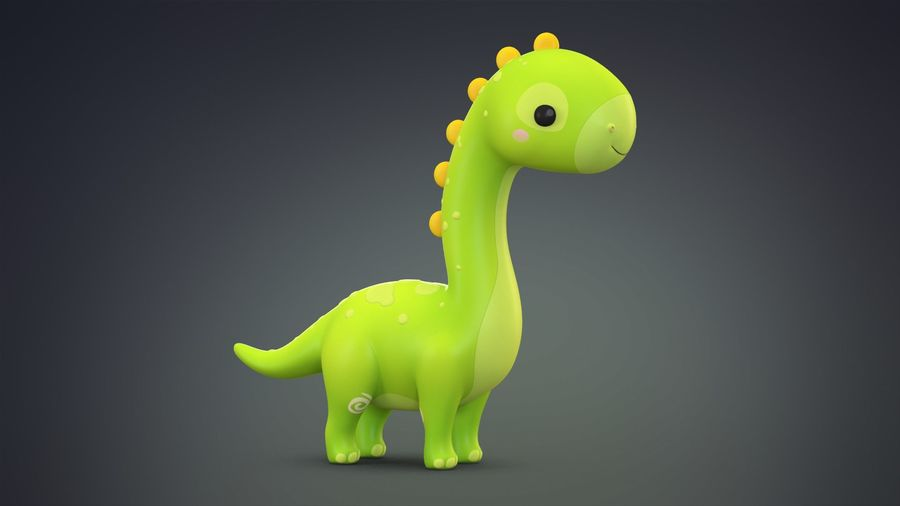 Cartoon Dinosaurier Brachiosaurus royalty-free 3d model - Preview no. 2