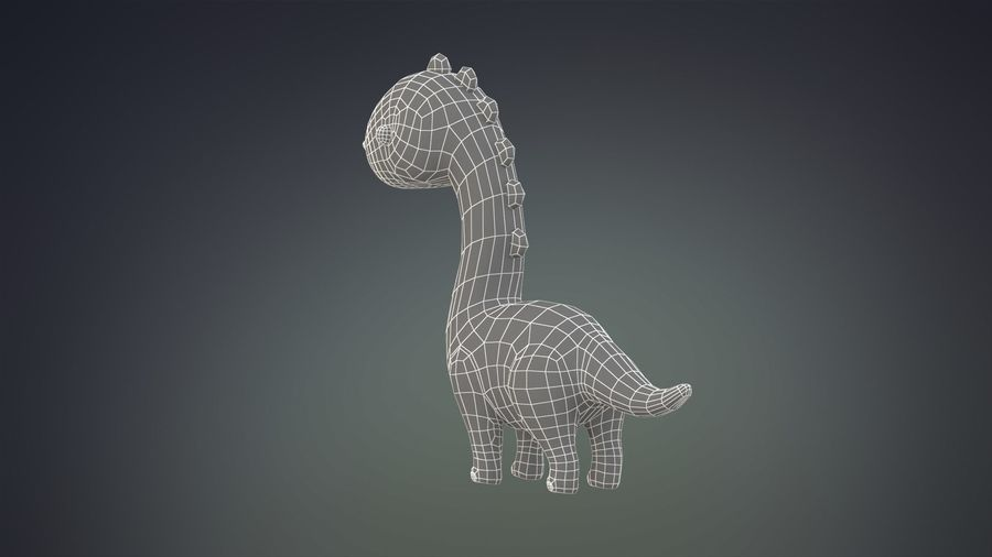 Cartoon Dinosaurier Brachiosaurus royalty-free 3d model - Preview no. 17