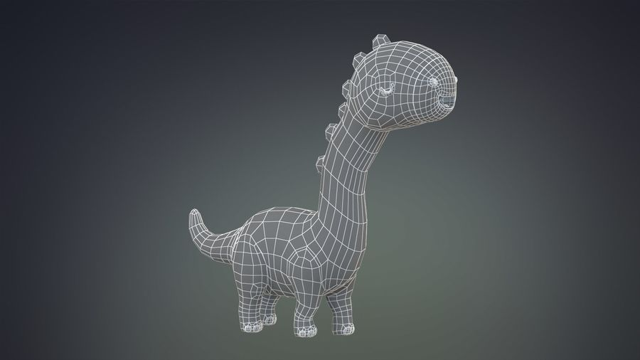 Cartoon Dinosaurier Brachiosaurus royalty-free 3d model - Preview no. 23