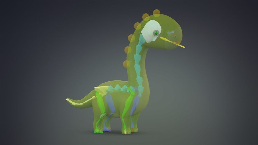 Cartoon Dinosaurier Brachiosaurus royalty-free 3d model - Preview no. 28