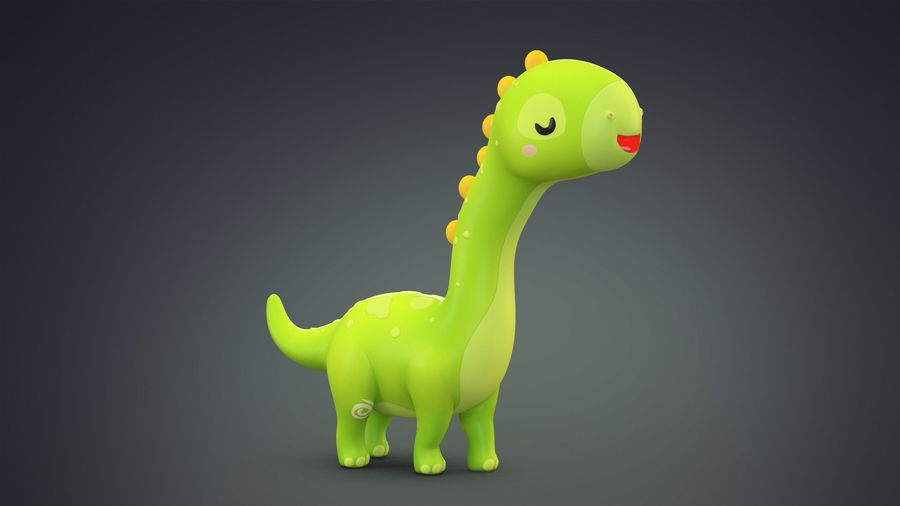 Cartoon Dinosaurier Brachiosaurus royalty-free 3d model - Preview no. 11