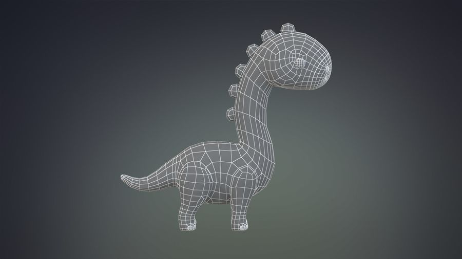 Cartoon Dinosaurier Brachiosaurus royalty-free 3d model - Preview no. 19