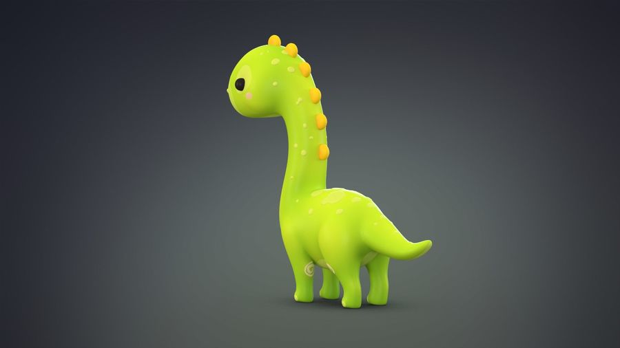 Cartoon Dinosaurier Brachiosaurus royalty-free 3d model - Preview no. 5
