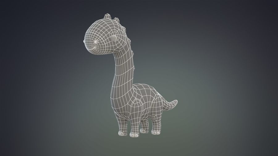 Cartoon Dinosaurier Brachiosaurus royalty-free 3d model - Preview no. 16