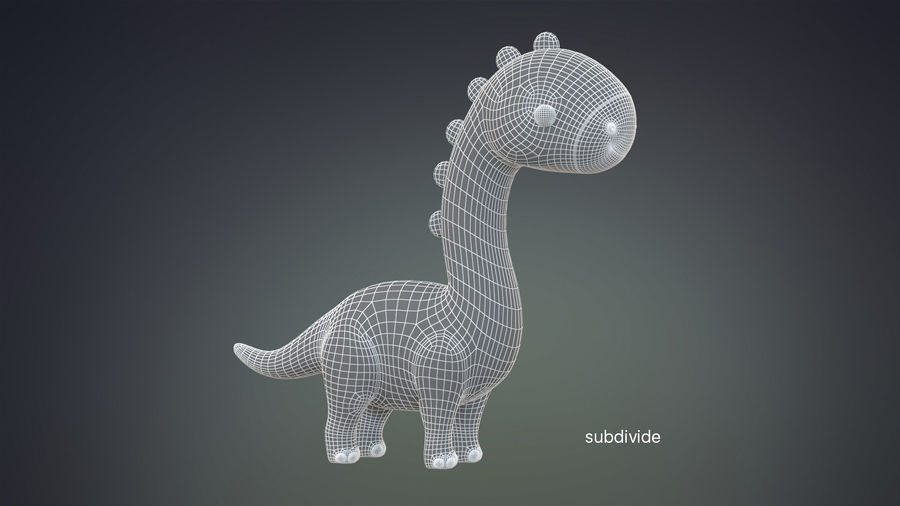 Cartoon Dinosaurier Brachiosaurus royalty-free 3d model - Preview no. 25
