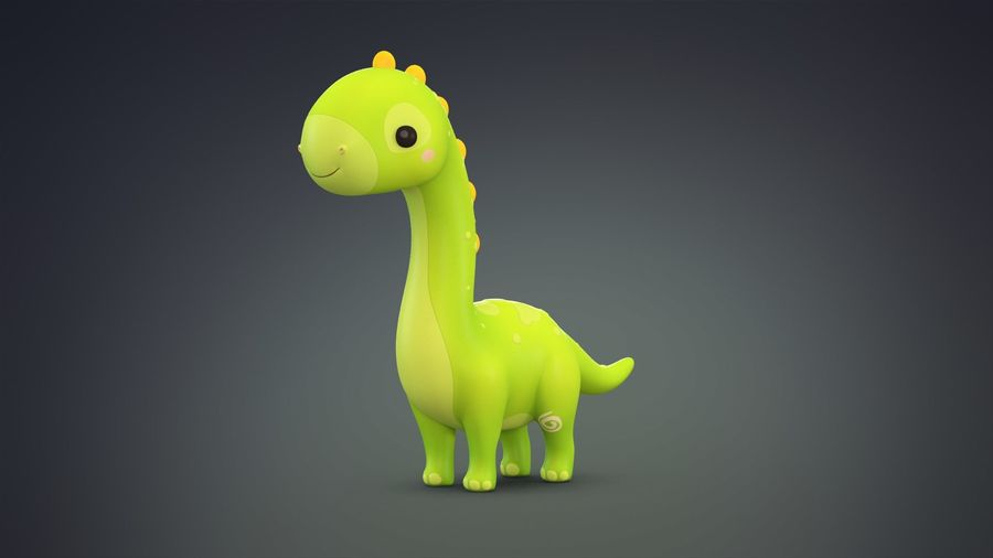 Cartoon Dinosaurier Brachiosaurus royalty-free 3d model - Preview no. 4