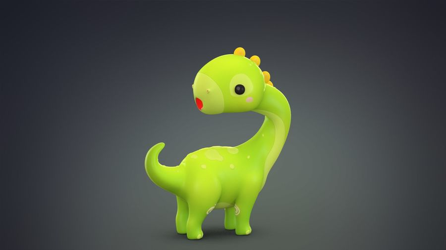 Cartoon Dinosaurier Brachiosaurus royalty-free 3d model - Preview no. 12