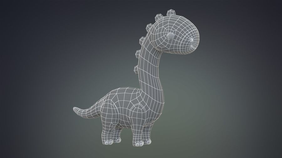 Cartoon Dinosaurier Brachiosaurus royalty-free 3d model - Preview no. 14
