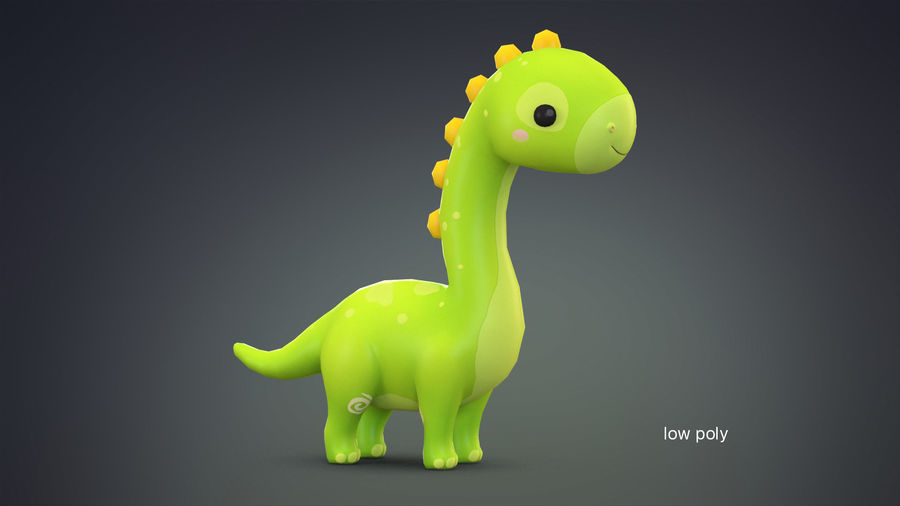 Cartoon Dinosaurier Brachiosaurus royalty-free 3d model - Preview no. 13