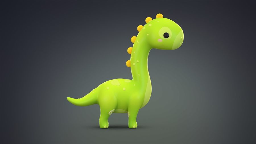 Cartoon Dinosaurier Brachiosaurus royalty-free 3d model - Preview no. 7