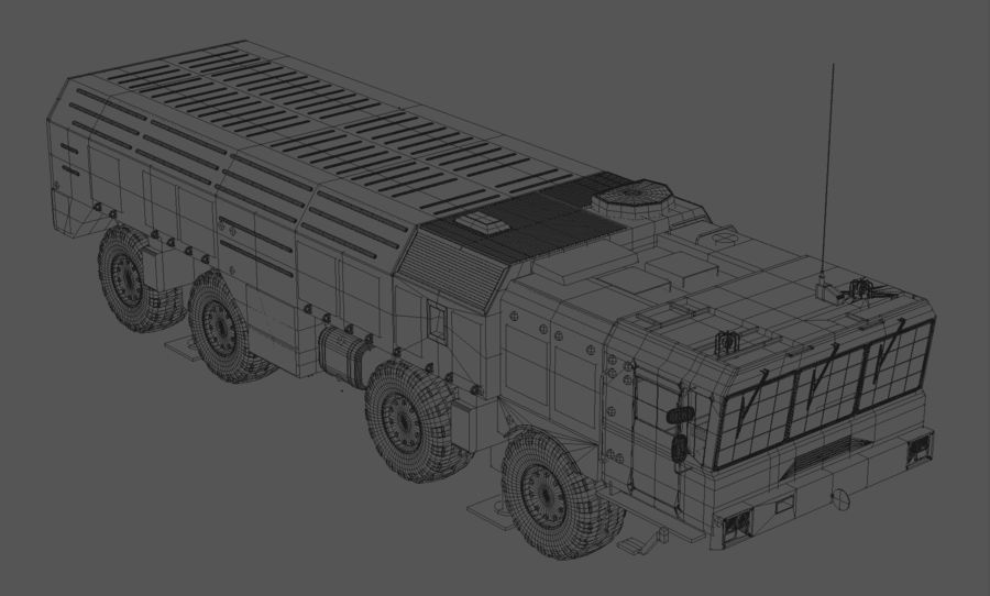 Iskander missile launcher royalty-free 3d model - Preview no. 8