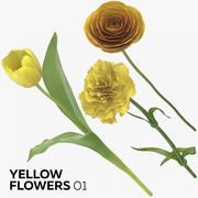 Flores amarelas 01 3d model