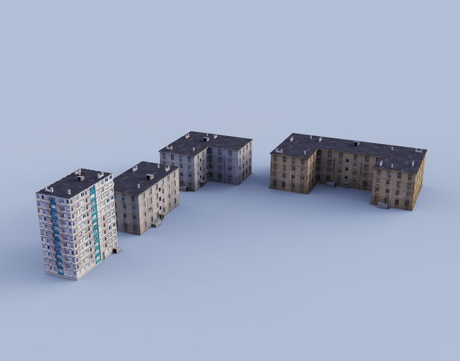 düşük poli Rus evleri royalty-free 3d model - Preview no. 5