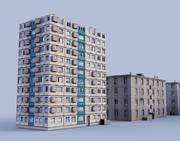 låga poly ryska hus 3d model